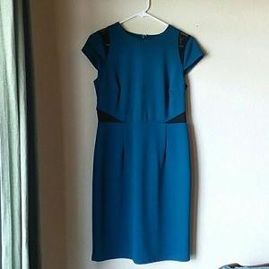 spence teal black shear cut  dress